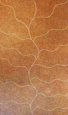 Fluid flowing lines on this painting titled Bush Tucker Seeds by Sandy Hunter Pitjara.  It's incredible to see the individual dots that are painted on.