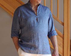 Linen Shirt Mens Gray Linen Shirt, Homewear, Linen Leisure Shirt, Natural linen shirt, Mens beach shirt Summer shirt
