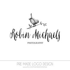 Pre made Photography Logo watercolor design by MariaBPhotoShop