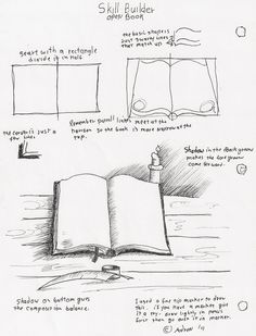 Adron's Art Lesson Plans: How To Draw an Open Book With Pen and Ink for the Young Artist