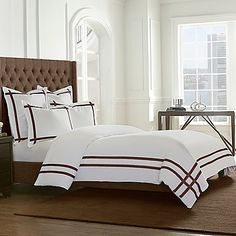 Tailored and chic, the clean-lined style of this Wamsutta Montenegro Comforter Set brings timeless elegance to your bedroom. Its rich, interlocked ribbons perfectly complement the crisp base; transforming your sleeping quarters to a relaxing retreat.