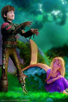 Hiccup cheering Rapunzel up after Pascal disappeared