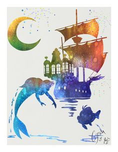 Little Mermaid archival fine art print Ariel by TentakittyInk