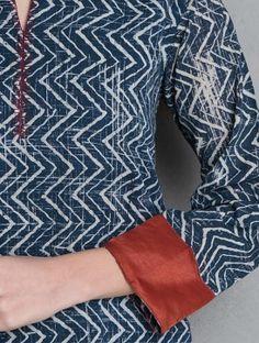 Indigo-Maroon Natural Dye Ajrakh Printed Cotton Double Layer Kurta by Jaypore