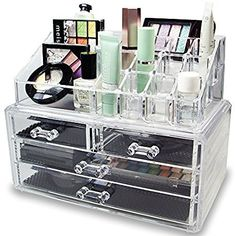 Amazon.com: Ikee Design Acrylic Jewelry & Cosmetic Storage Display Boxes Two Pieces Set.: Home & Kitchen