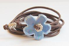 armband bloem jeans blauw