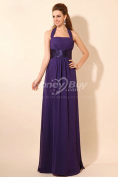 Halter Sheath Floor Length Chiffon Bridesmaid Dress Dark Purple