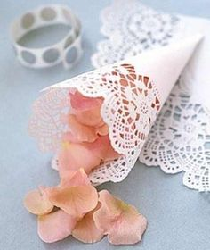 Do a flower petal toss instead of a rice toss - make cones from doilies and use TULIP petals, lol Doily Wedding, Wedding Confetti, Wedding Paper, Our Wedding, Wedding Ceremony, Trendy Wedding, Wedding White, Rose Petals Wedding, Paper Doilies Wedding