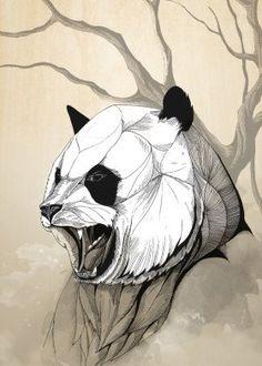 Angry panda by rafapasta cg metal posters barwell искусство, Tiger Poster, Lion Poster, Panda Art, Panda Panda, Nature Posters, Tree Illustration, Animal Posters, Print Artist, Animal Tattoos