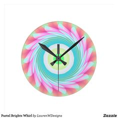Pastel Brights Whirl Round Wall Clocks This abstract, eye-catching whirl design features shades of green, pink, purple, orange and white.