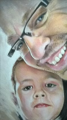 Drawing of my brother and his son. Derwent color pencils