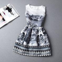 Venda quente nova moda 2015 verão impressão vestido, Mulheres sem mangas vestidos de festa em Vestidos de Roupas e Acessórios no AliExpress.com   Alibaba Group