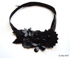 All Black Floral Leather Bib Necklace Crystals Patterned Leather Statement Jewelry Asymmetric Collar Modern Choker. $31.00, via Etsy.