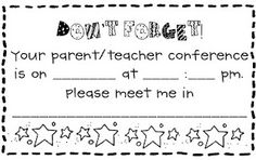 Parent Teacher Conference reminder form + a folder template and a self assessment that students can do.