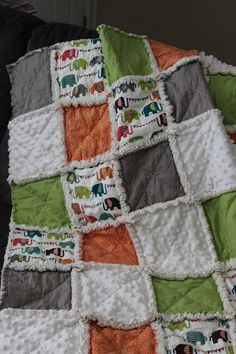 Fun and bright elephant rag quilt in gender neutral orange green grey cream by Sewology101, $62.00