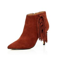 Brown suede fringed heeled boots