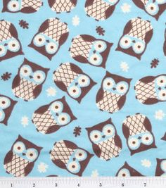 Snuggle Flannel Fabric-Owls Turquoise