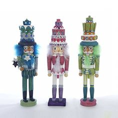 Kurt Adler 18 Holly Wood Brightly Colored Nutcracker 3 Assorted Colors Pink Green  Blue * Be sure to check out this awesome product.
