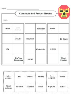 Encourage your child to practice identifying the difference between a common and proper noun with the help of this free worksheet! Types Of Nouns, Common And Proper Nouns, Grammar Practice, Parts Of Speech, English Language, Einstein, Worksheets, The Help, Encouragement