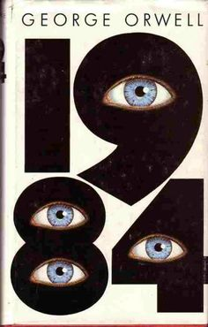 1984 by George Orwell with cover art by Michael Kennard. 1984 was first published June 8, 1949 (this cover is from a later edition). Very timely and contemporary subject matter—big brother is watching...
