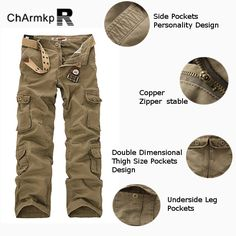 ChArmkpR Mens Military Outdoor Loose Large Size Cotton Multi-pockets Cargo Pants at Banggood