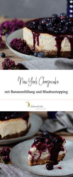 Rezept New York Cheesecake mit Bananenfüllung und Blaubeertopping