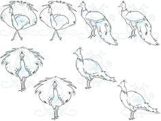 Peacocks Mini Artwork Set by SnugglebugArtDesign on Etsy