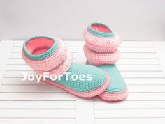 #Crochet #Women #Boots for the #Home #Mint #Rose #Pink #Candy #Pastel #Stripes by #JoyForToes