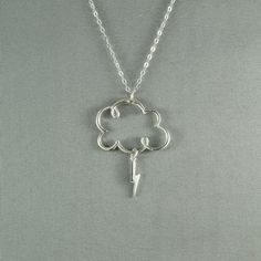 Lightning Cloud Necklace, 925 Sterling Silver, Pretty, Lovely Jewelry