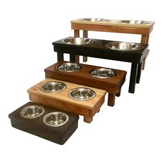 No matter what kind of super spiffy pet products you need, we've got you covered.  Here we have: different sized wooden dog bowl stands, so not matter how big your pup it there's something for them!