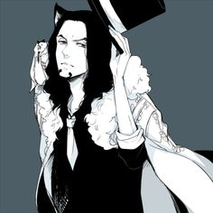 animal ears black hair cat boy cat ears enies lobby formal hat hattori (one piece) kuru (kzyr) male focus necktie one piece pixiv sample rob lucci shoulder perch solo suit top hat - Image View - One Piece Fanart, One Piece Anime, Otaku Anime, Anime Guys, Valkyria Chronicles, One Piece Man, One Piece Images, Lucci, Free Anime