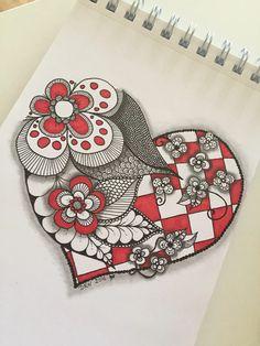 flowers, heart, zentangle