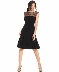 Anne Klein Dress, Sleeveless Illusion Jewel A-Line - Dresses - Women - Macy's