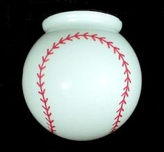 "Baseball 6"" Ball Globe Light Shade. Perfect for Child's Flush Mount or Ceiling Fan Light Fixture or Bar Lamp."