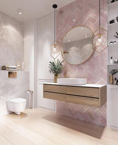 Modernes Badezimmer Modern pink bathroom vanity design, The va Bathroom Vanity Designs, Bathroom Interior Design, Bathroom Mirrors, Bathroom Cabinets, Marble Bathrooms, Bathroom Goals, Pink Bathroom Decor, Boho Bathroom, Bathroom Inspo