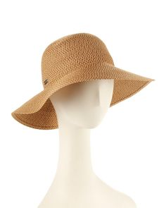 Free People Women/'s Mellow Mood Packable  Floppy Straw Hat Caramel Brown Boho