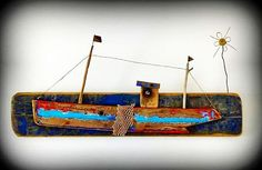 Partons, la mer est belle ! Driftwood fishing boat. mutozinc.blogspot.fr . #artbrut #marine #sardines #saintgillescroixdevie #payssaintgilles #driftwood #vendee #bretagne #beachcleanup