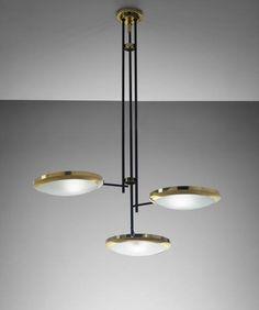 STILNOVO - Unique large three-armed ceiling light, designed for the Cartoleria Adua, Milan , circa 1947 - available through Phillips Auction