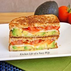 Avocado, Mozzarella and Tomato Grilled Cheese. I bet if you added bacon it would be off the charts delicious! :)