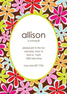 Kids Birthday Invitations - partyinvitations.com Flower Invitation, Invitation Design, Birthday Invitations Kids, Free Paper, Coupon Codes, Card Stock, Envelope, Flowers, Fun