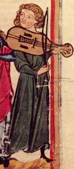Vielle Player - Codex Manesse. From an article about odd depictions of musicians in art and marginalia.