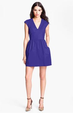 French Connection V-Neck Cotton Fit and Flare Dress