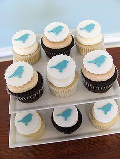 Blue Bird Cupcake Toppers (12) by SweetTalkCakes on Etsy