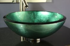 17 inch Modern Teal Metallic Sage Green Hand Painted Glass Bathroom Vessel Bowl contemporary bathroom sinks