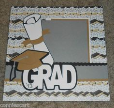Graduation 2013 Cap Diploma Premade Scrapbook Layout 1 Page 12x12 Paper Pieced | eBay