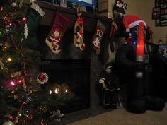 December 5, 2014 ~ Sparky decided to pull out our new Darth Vader inflateable and set it up inside our house...He left another note for the kids.  (Note below in comments...)