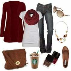 Complete Fall Outfit With Wine Red Cardigan and Shades