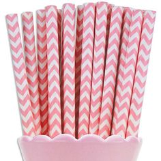 Light Pink Chevron Paper Straws - Layer Cake Shop