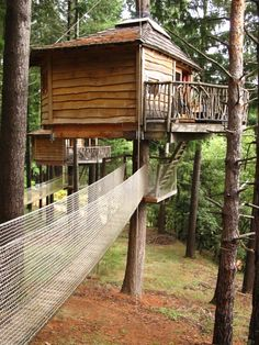 tree houses with netted bridges