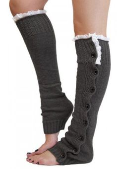 Pair of Chic Lace and Button Decorated Solid Color Knitted Leg Warmers For Women